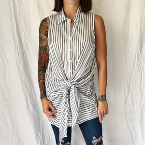 SLEEVELESS~KNOT SHIRT~STRIPED~GIBSON-LATIMER~SMALL